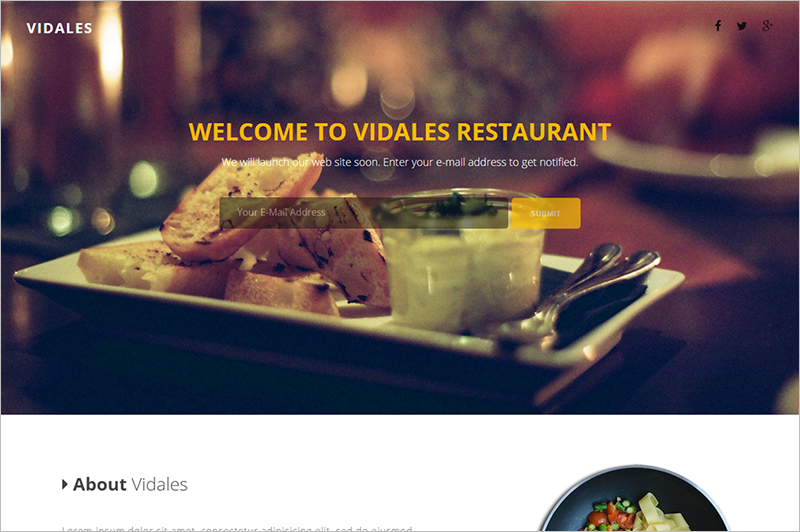 Restaurant Landing Page Template.