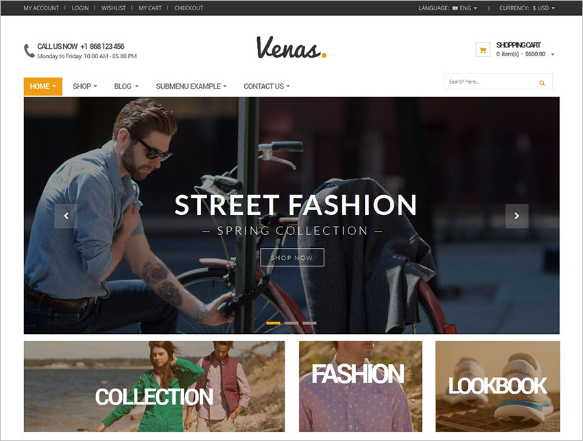 Responsive Ecommerce Website Templates | Free & Premium | Creative ...