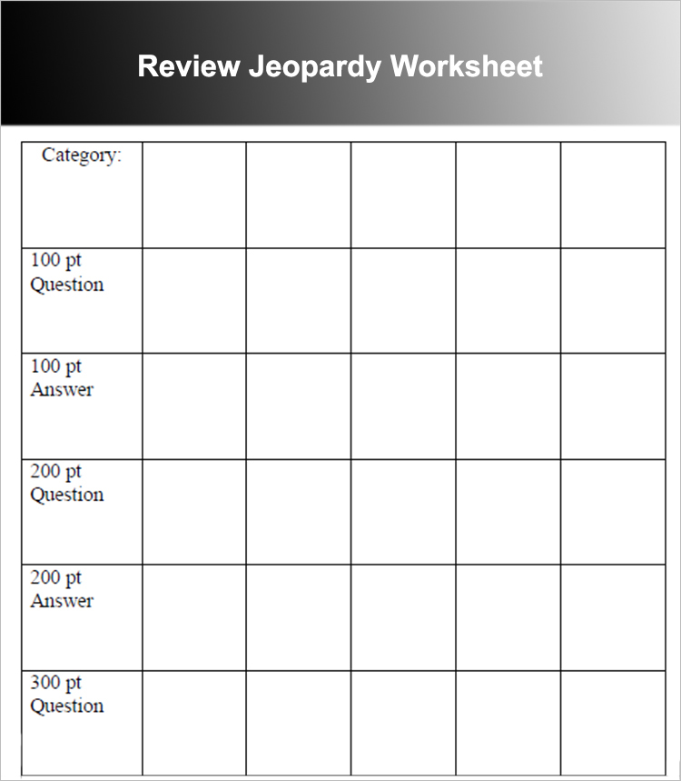 Review Jeopardy Worksheet