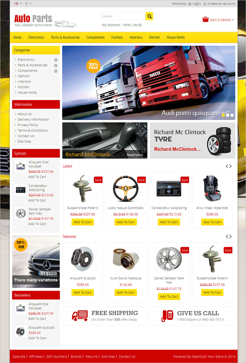 SEO Optimized Auto Parts Opencart Theme