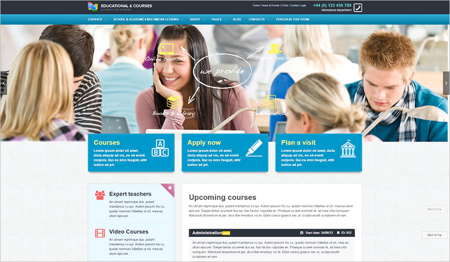 SOE Friendly Educational, Courses Or Event College Website Template