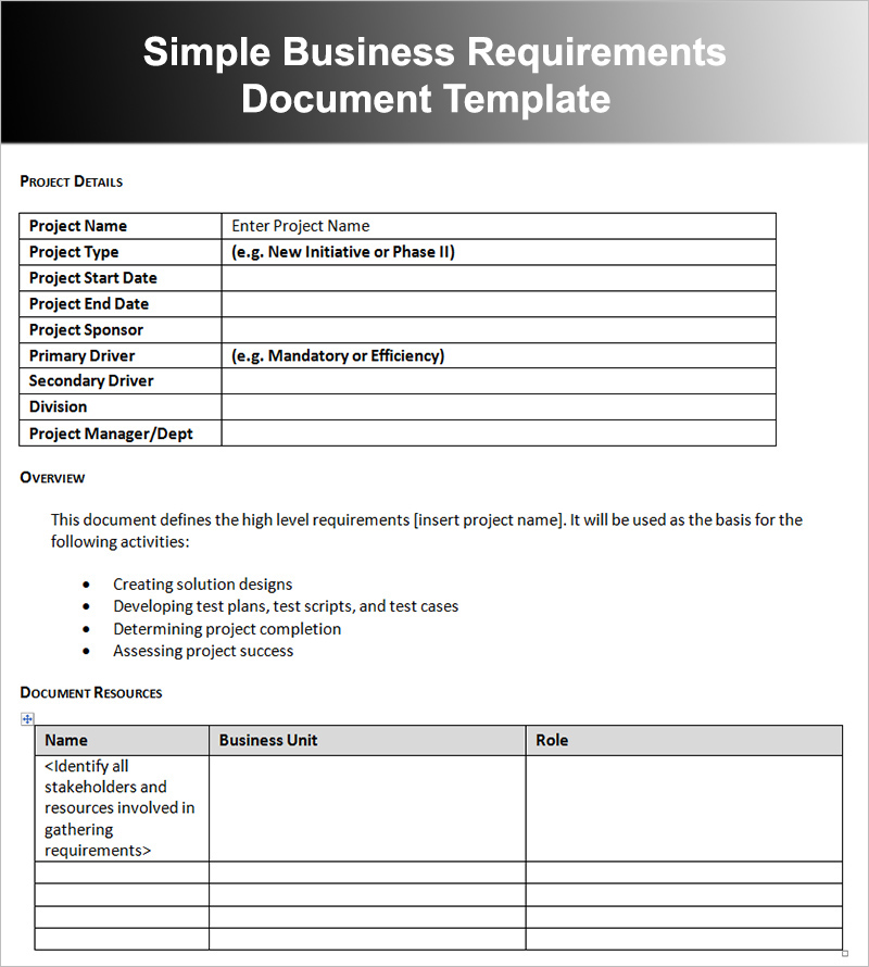 Sample Business Requirements Document Template