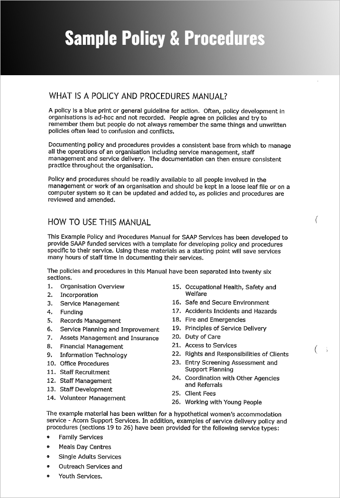 Procedures Manual Example  Procedure Manual Template Word