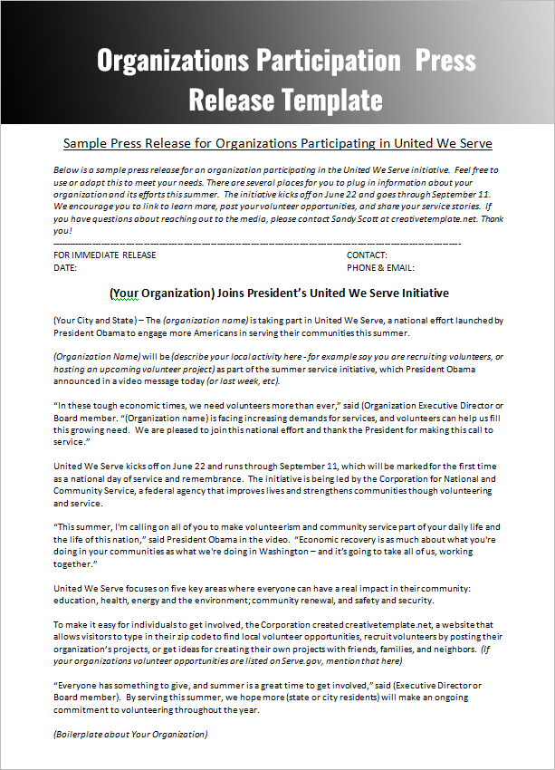 cover letter to send with press release Information on how to submit a press release skip to send press releases as often as you have if the story runs, be sure to send a thank-you letter.