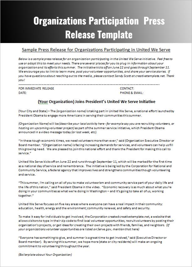 Sample Press Release for Non-Profit Organization