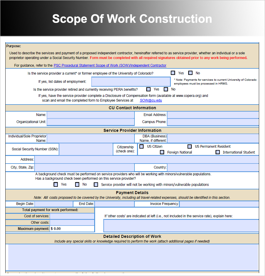 Scope Of Work Construction