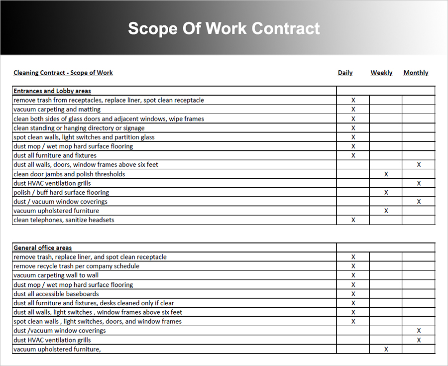 Cleaning Contract Templates  BesikEightyCo