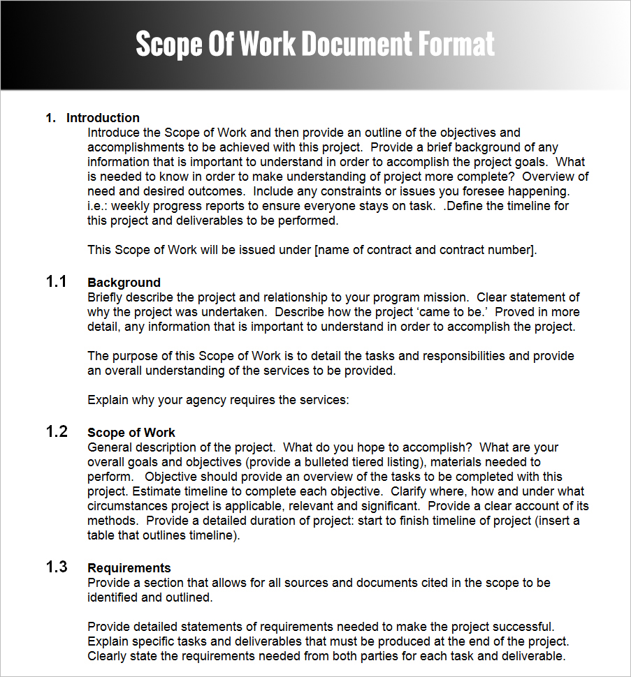 Scope Of Work Document Format