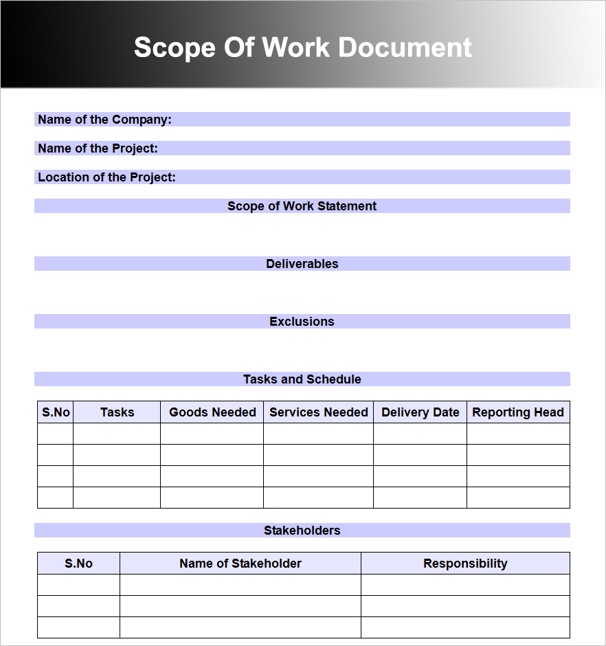 Scope Of Work Document