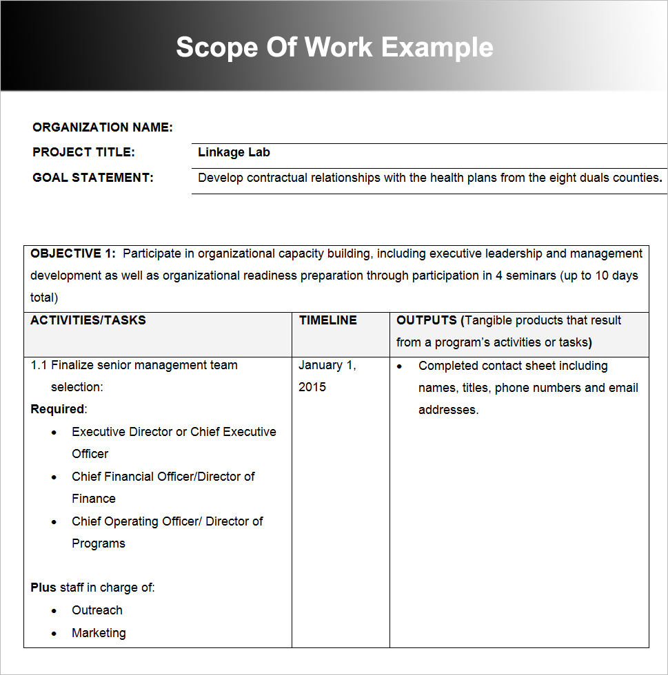 Scope Of Work Example