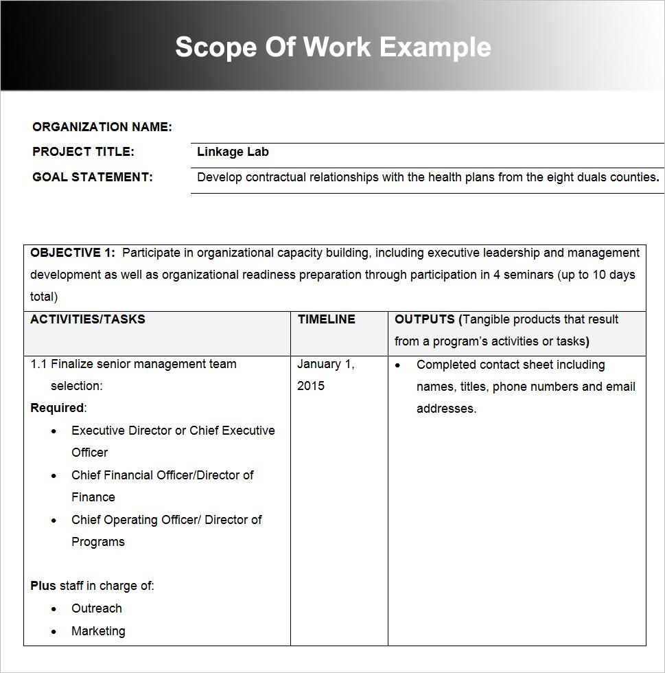 Scope Of Work Example