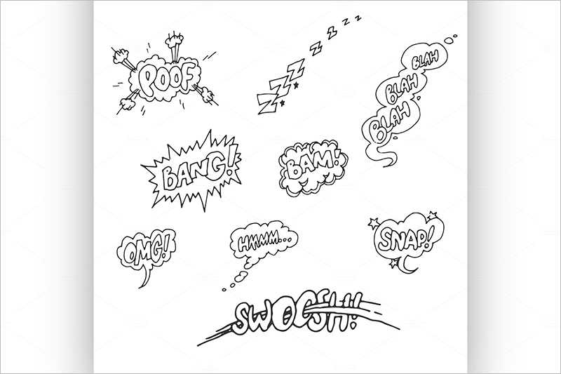 Set of Sketch Comics Phrases