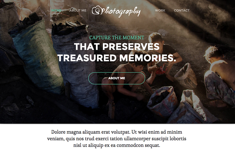 Single Page Responsive Photography HTML5 Theme