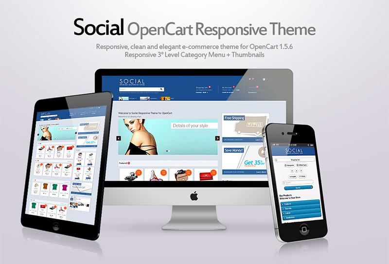Social Responsive Theme for OpenCart