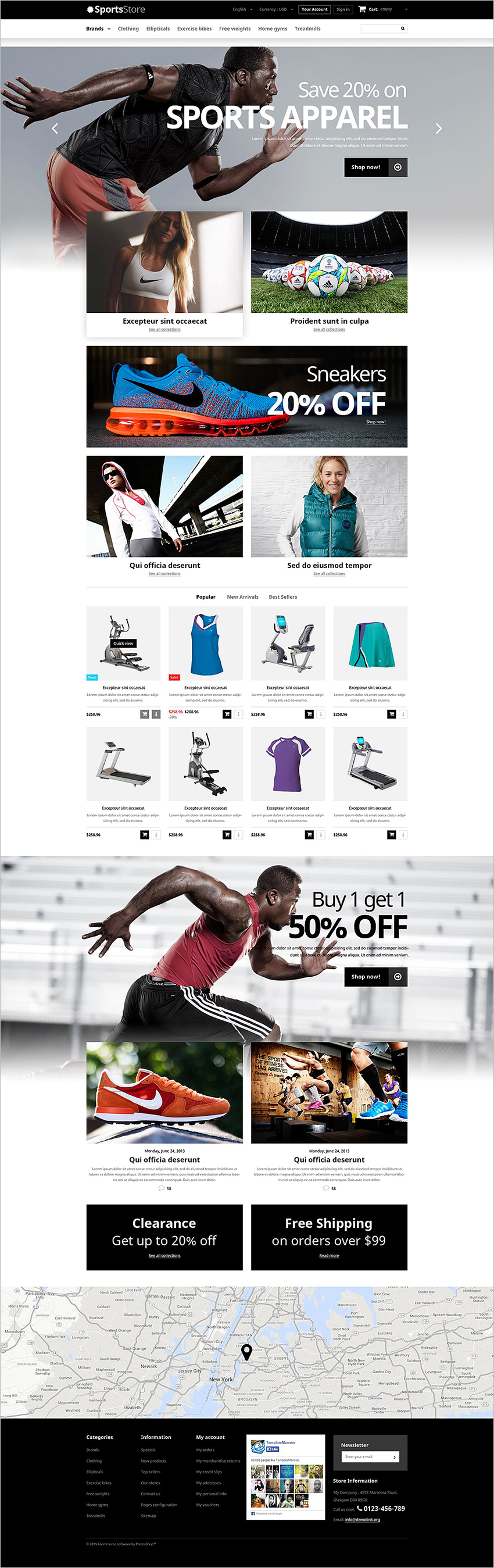 Sports Clothes Equipment PrestaShop Theme
