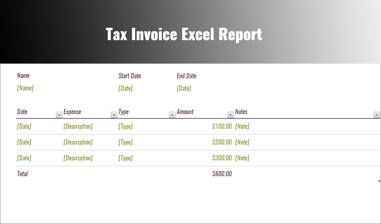 Tax Expenses Report Word Document