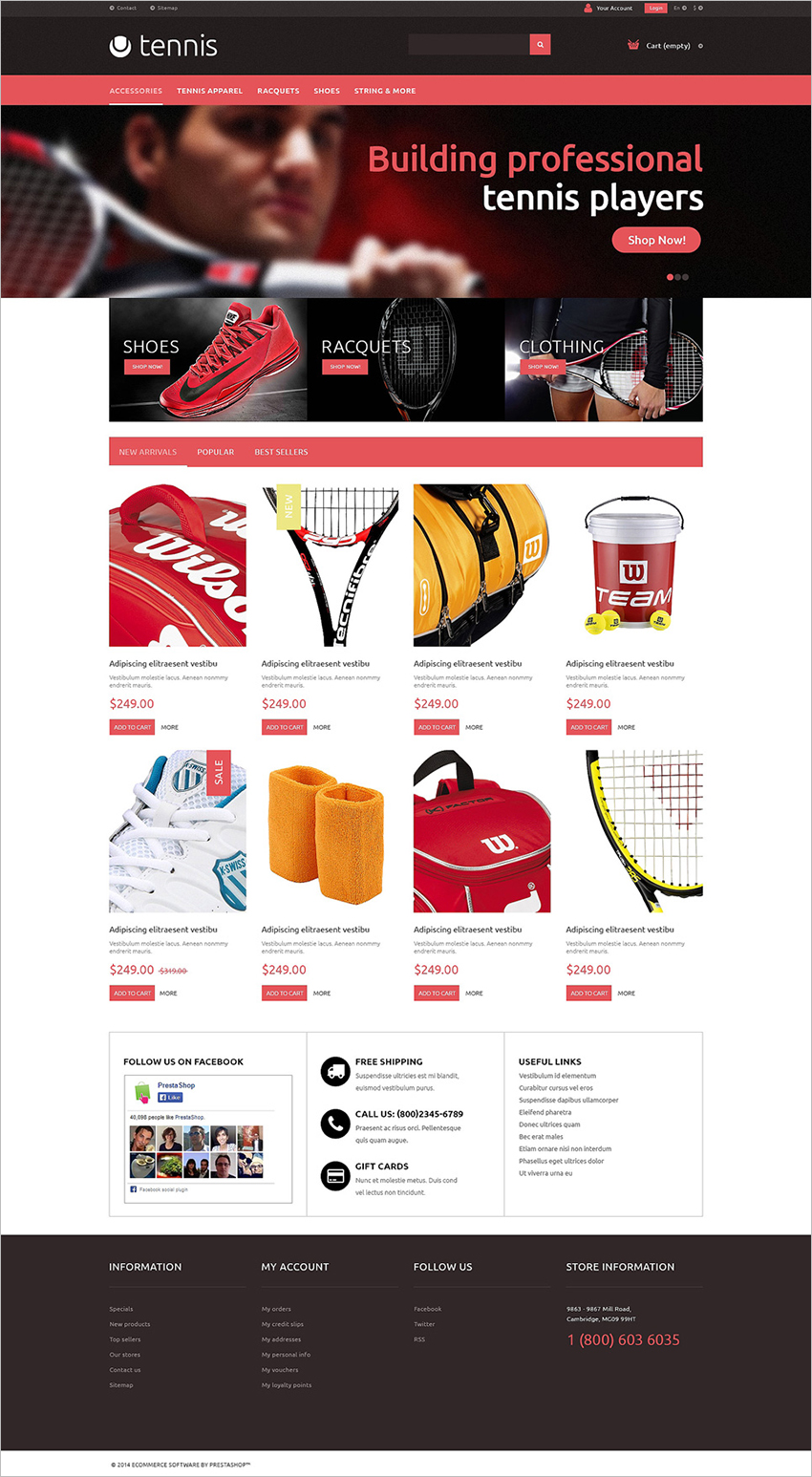 Tennis Accessories PrestaShop Theme