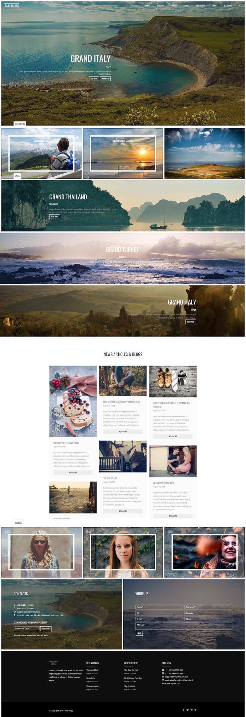 Travel One Page Drupal Theme