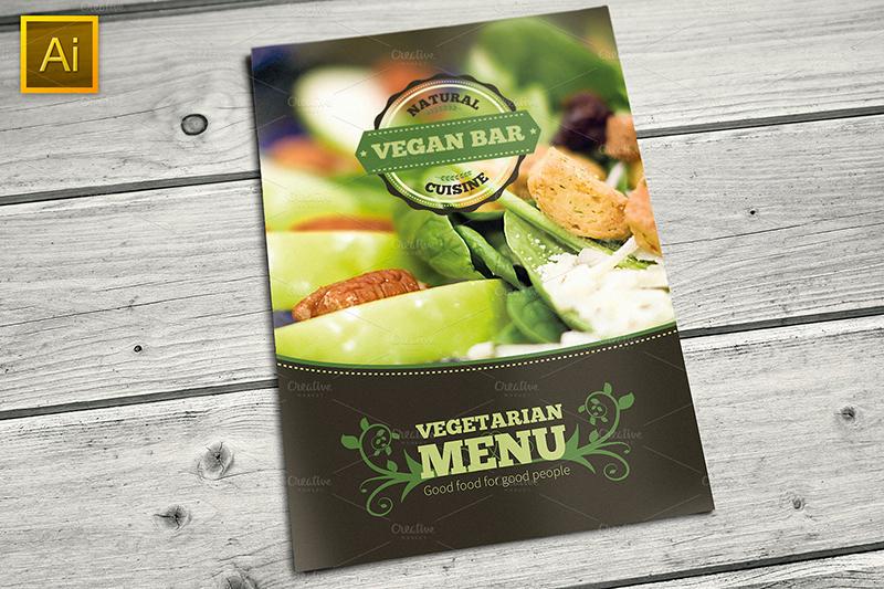 Food Menu Bi Fold Brochure Template