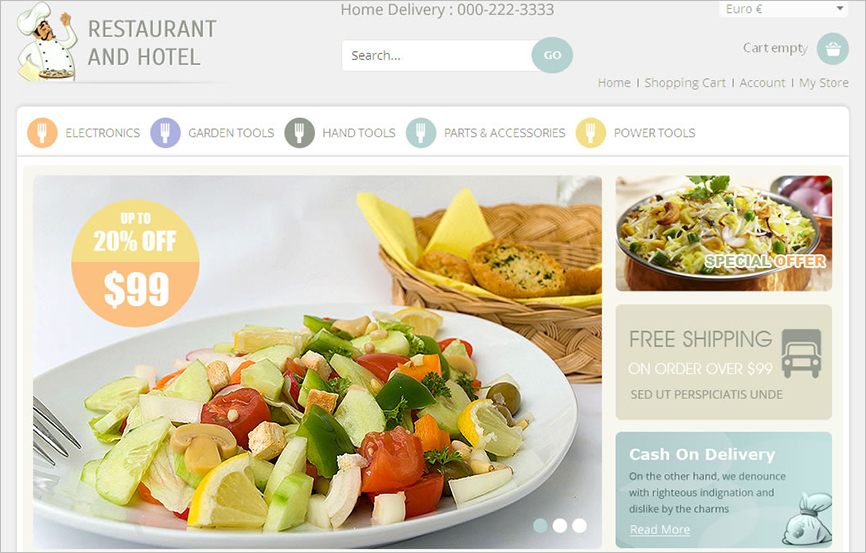 VirtueMart Responsive Template For Restaurant
