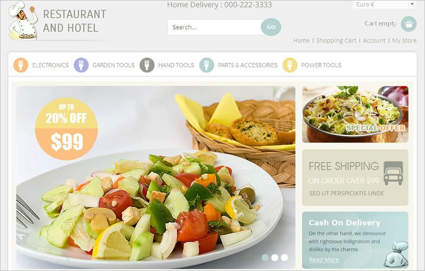 VirtueMart Responsive Template For Restaurant