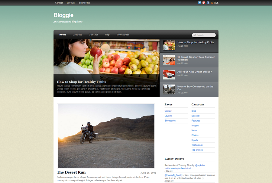 WP Blog Theme With Footer widgets