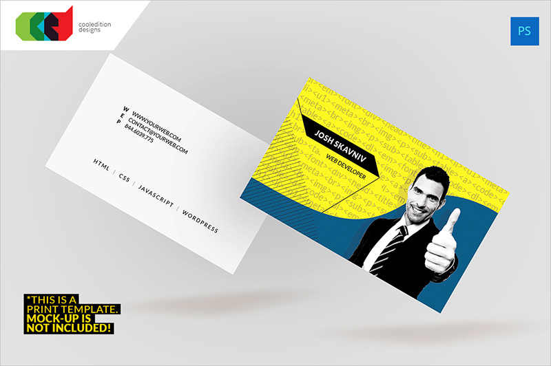 Web Developer Business Card PSD
