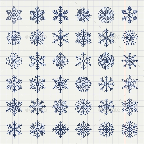 Winter Snowflakes Doodles