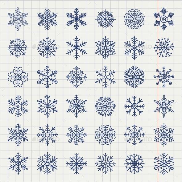 Winter Snowflakes Doodles