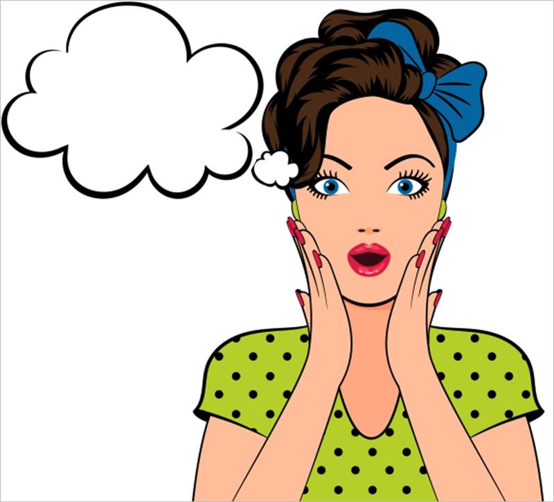 Women With Speech Bubble Comic Strip