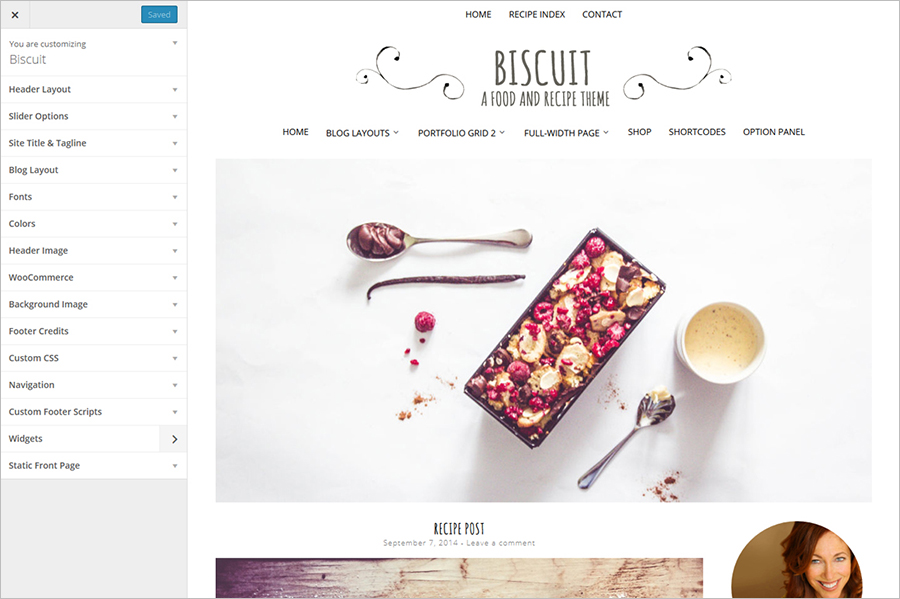 WordPress Food Blog With Unlimited Color Options