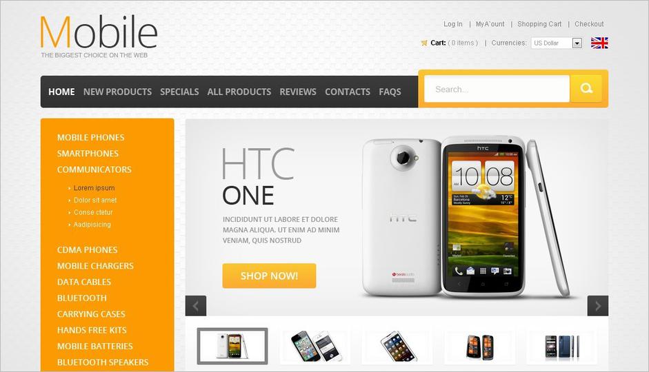 ZenCart Template For Online Mobile Store
