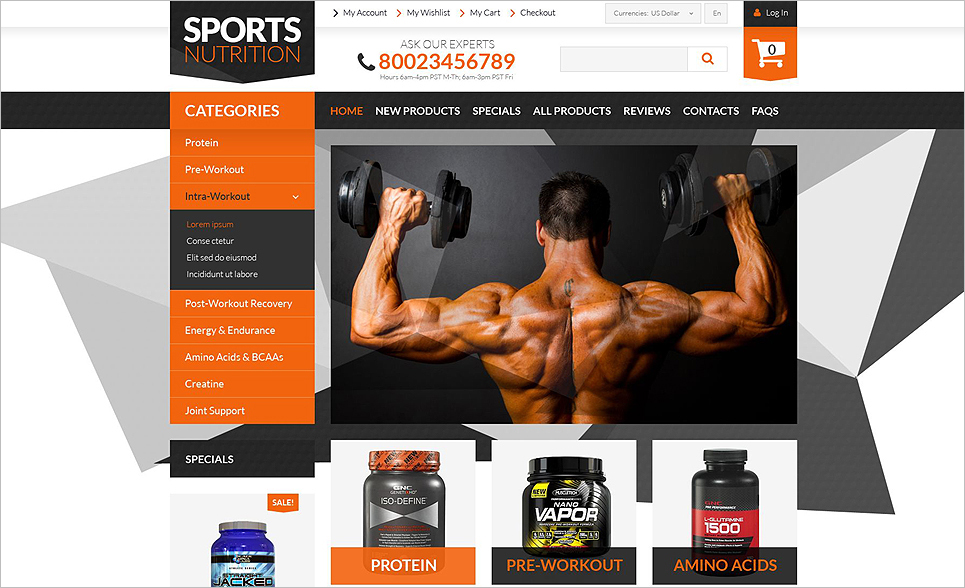 ZenCart Website Template For Online Shop Bodybuilding Supplements