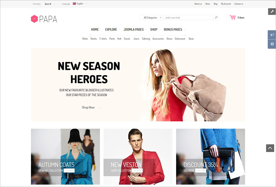 eCommerce Template With Mega Menu