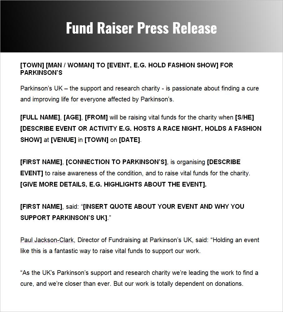 fundraiser press release sampleS