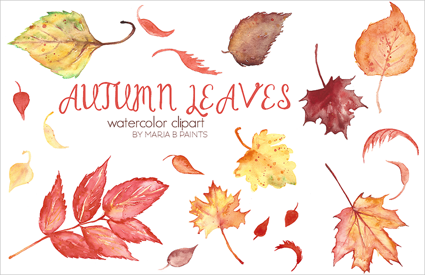 Autumn Leaves Clip Art Template