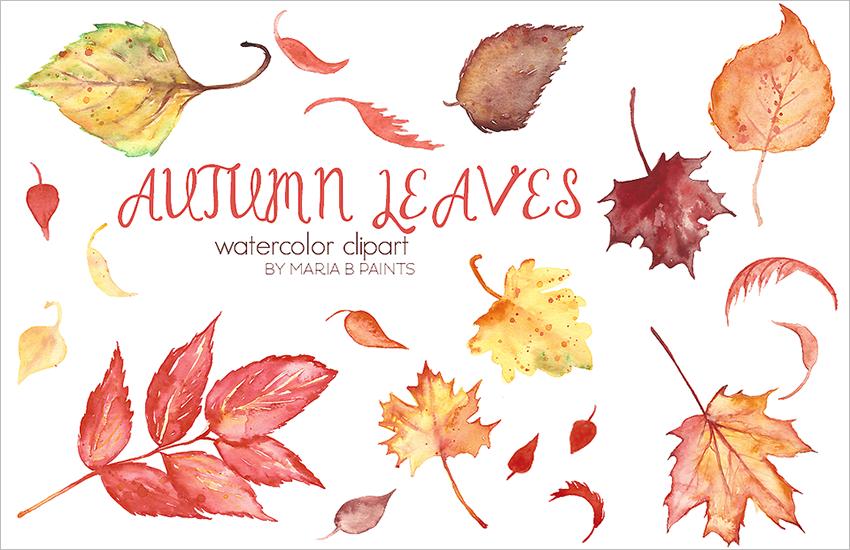 Autumn Leaves Clip Art Template