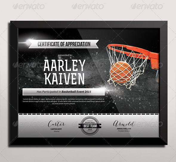 basketball certificates templates