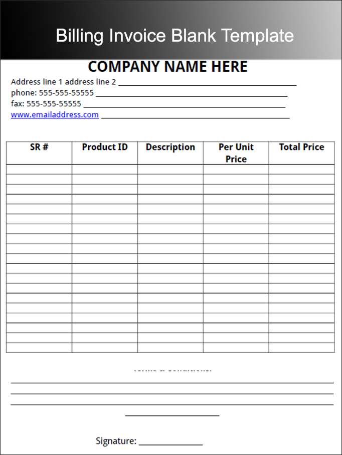 Billing Invoice Blank Template