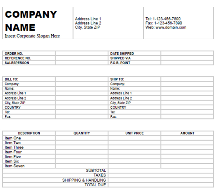 Billing Invoice Free Template