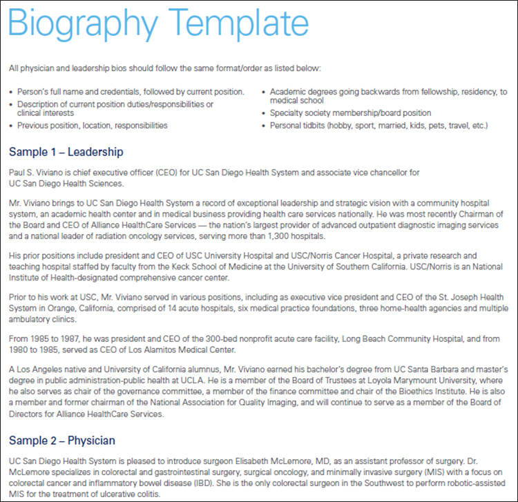 bio template sample