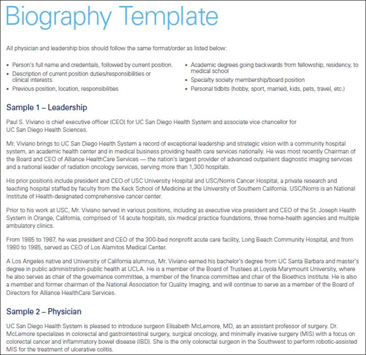 Biography Template Sample