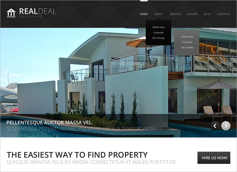 Black and White Real Estate Drupal Template