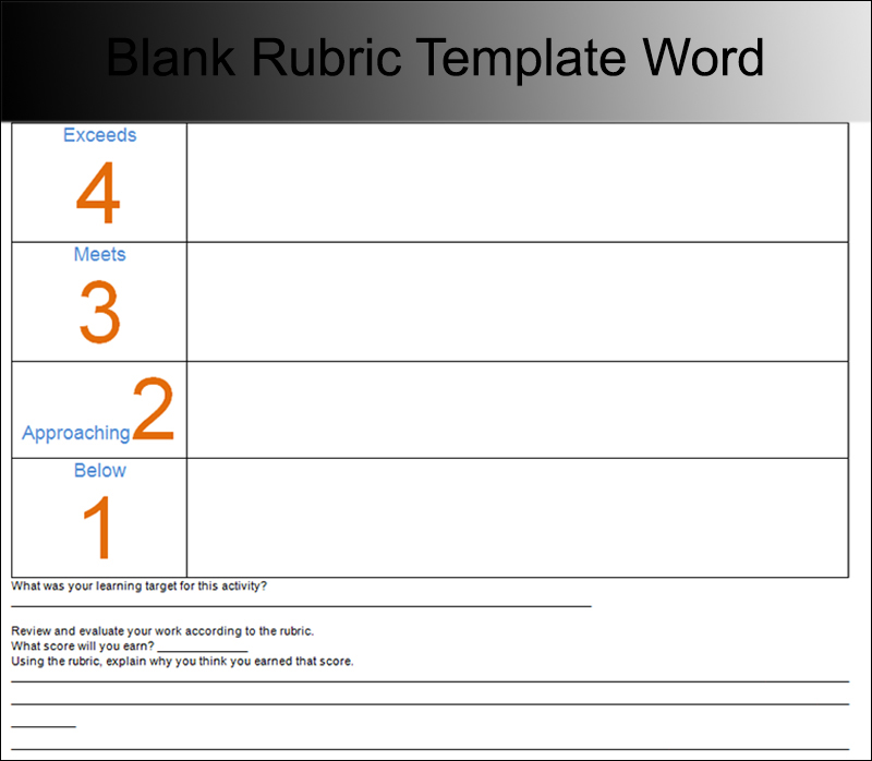 Blank Rubric Template Word