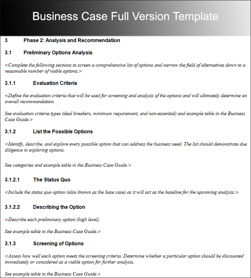 Business Case Full Version Template