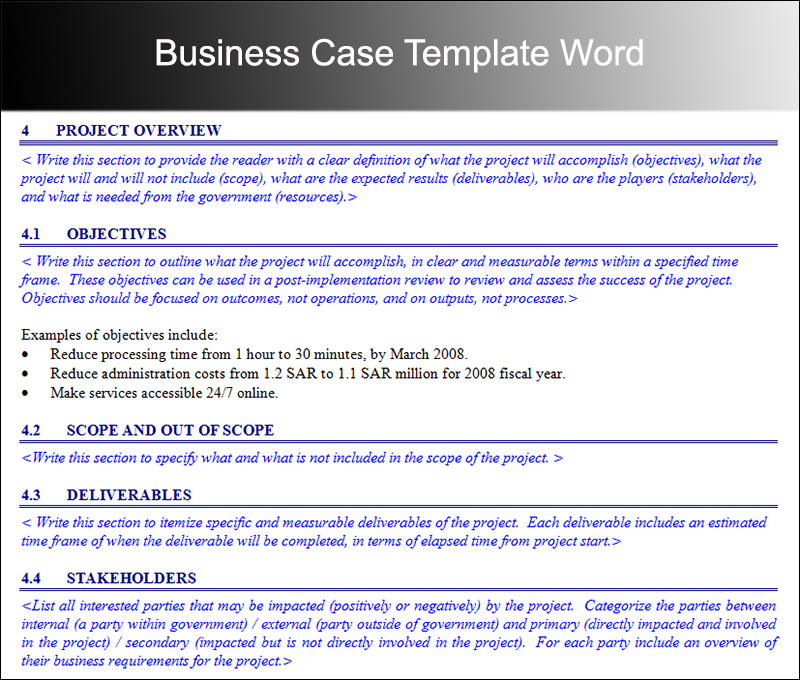 free business case template word