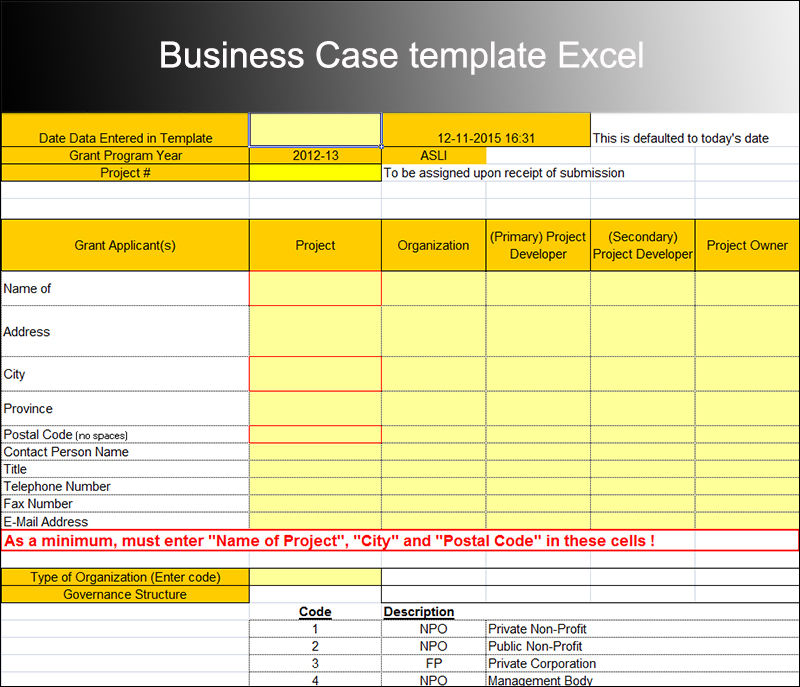 Project business case template excel flashek Gallery