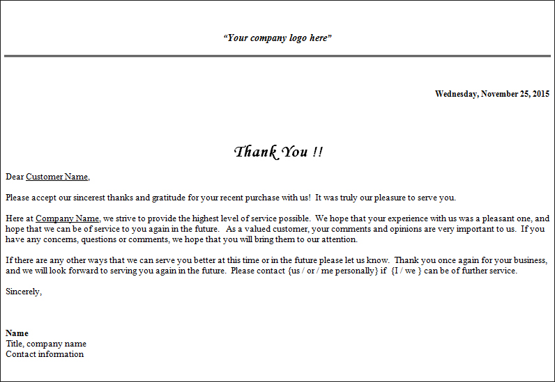 Business Thank You Letter Sample