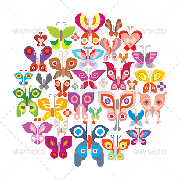 Butterflies round vector illustration
