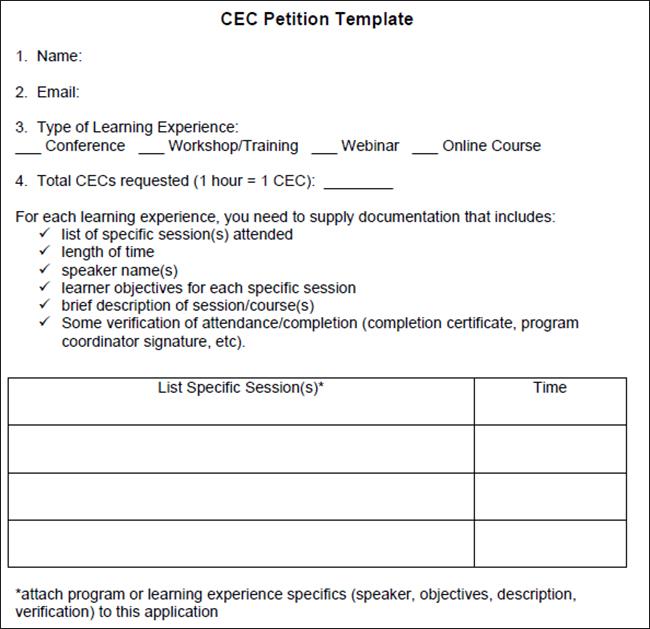 CEC Petition Template